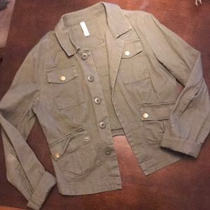 Cropped green army jacket